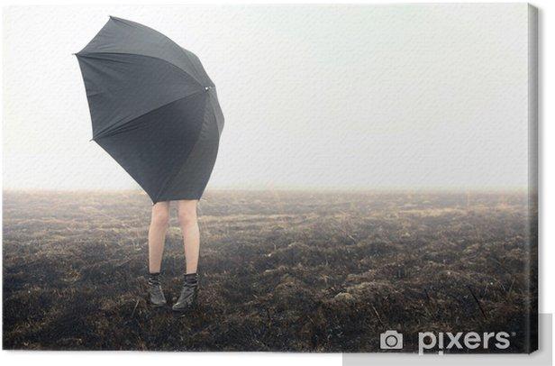 Tableau sur toile Fille avec le parapluie sur fond noir - Thèmes
