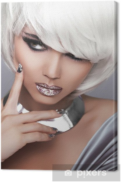 Tableau sur toile Fille blonde de mode. Portrait de beauté de la femme. Blanc Cheveux courts. Sexe - Mode