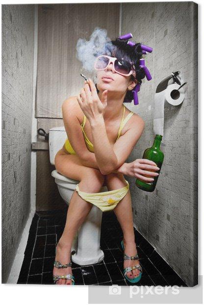 Tableau sur toile Fille s'assied dans une toilette - Addiction