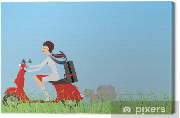 Tableau sur toile Fille sur le vélo - Mode