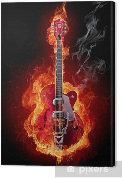Tableau sur toile Fire guitar - Styles