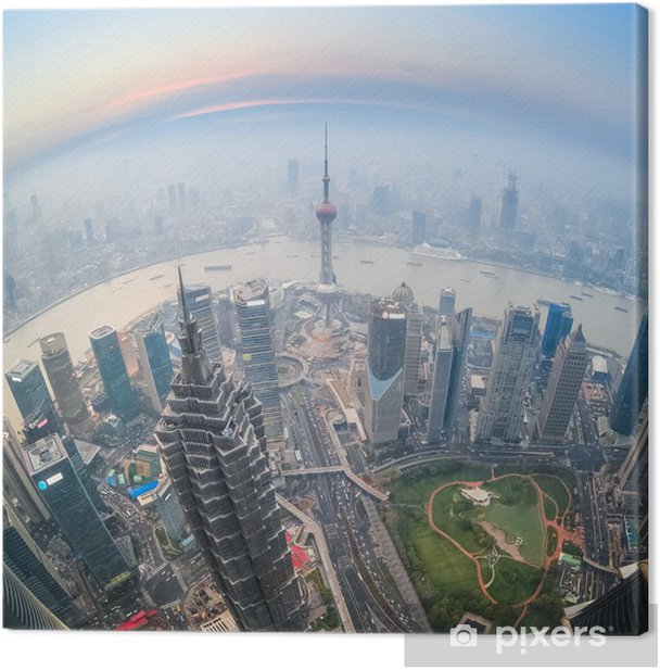 Tableau sur toile Fisheye vue de shanghai au crépuscule - Paysages urbains