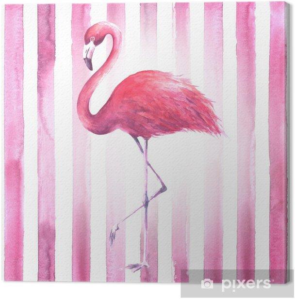 Tableau sur toile Flamant rose sur fond rayé - Animaux