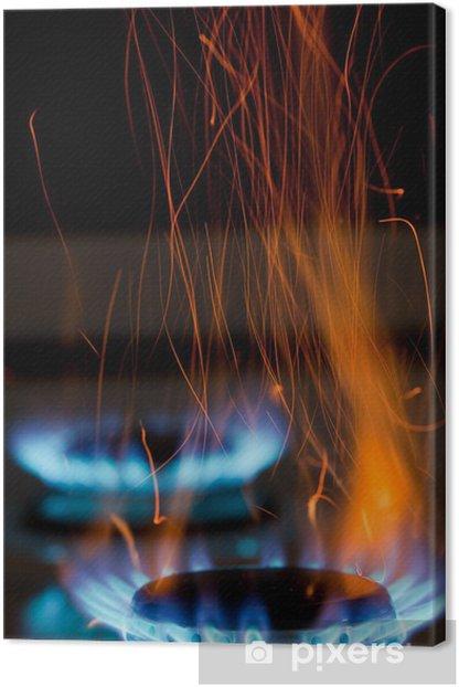 Tableau sur toile Flammes sur cuisinière à gaz - Maisons et jardins