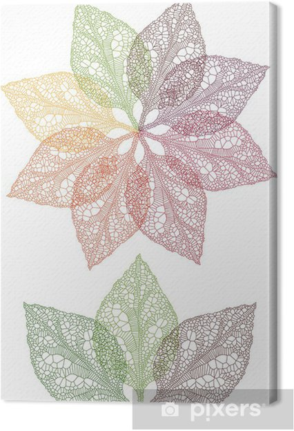 Tableau sur toile Fleur feuilles coloré, vecteur - Fleurs