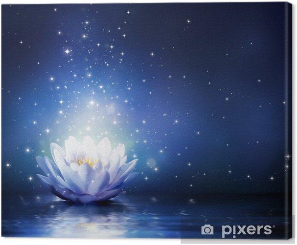 Tableau sur toile Fleur magique sur l'eau - bleu - Religion