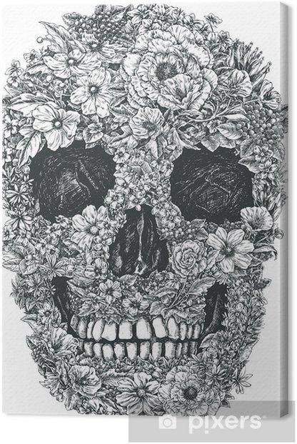 Tableau sur toile Fleur Vecteur de crâne - Mode de vie