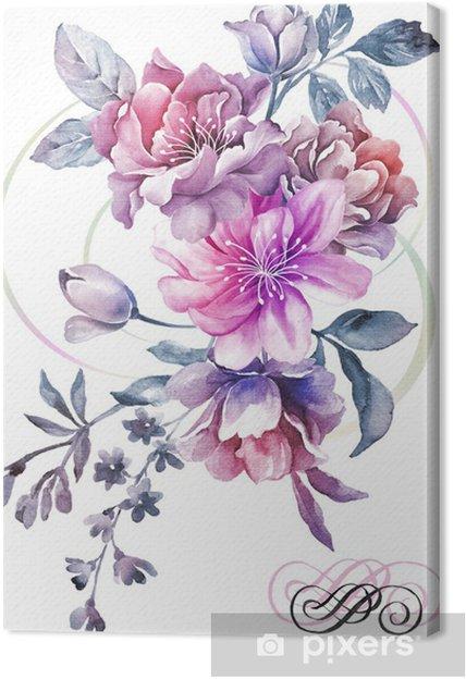 Tableau Sur Toile Fleurs Aquarelle D Illustration En Arriere Plan