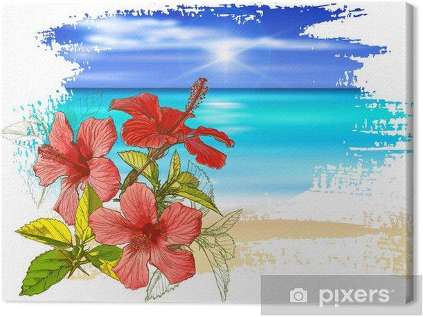 Tableau sur toile Fleurs d'hibiscus, d'azur océan, ciel bleu avec des nuages blancs duveteux - Vacances
