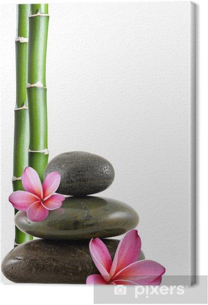 Tableau sur toile Fleurs de frangipanier, galets zen et bambou - Styles