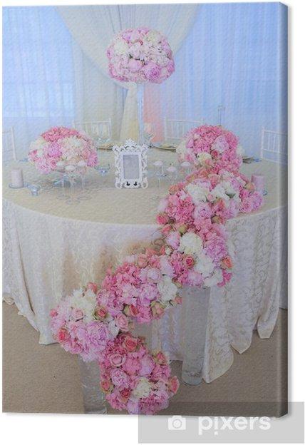 Tableau sur toile Fleurs de mariage blanc et rose - Fleurs