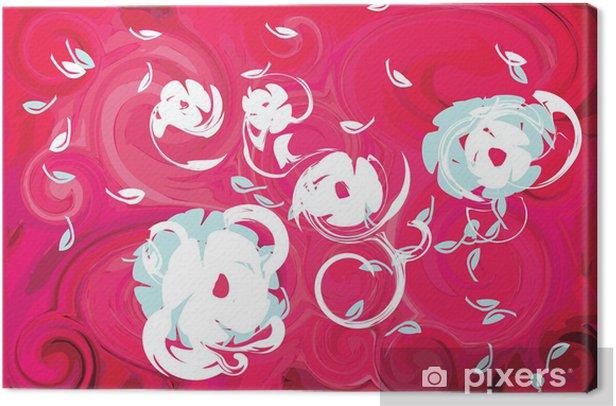 Tableau sur toile Fleurs de printemps fuchsia de vent rose fond feuille - Fleurs