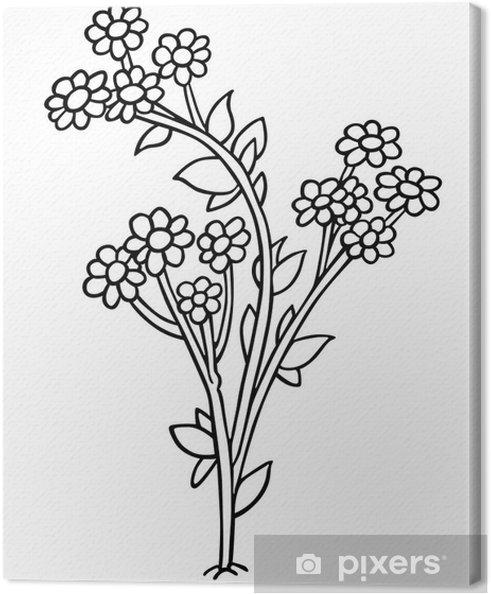 Tableau Sur Toile Fleurs Dessin Animé Noir Et Blanc Illustration
