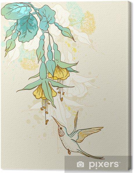 Tableau sur toile Fleurs et colibri - Fleurs