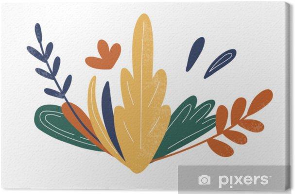 Tableau Sur Toile Fleurs Plantes Et Feuilles Abstraites Dessin à Main Levée