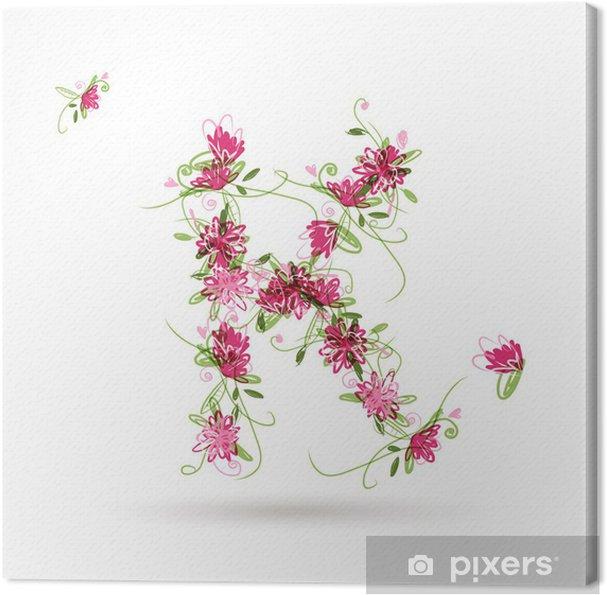 Tableau sur toile Floral lettre K pour votre conception - Signes et symboles