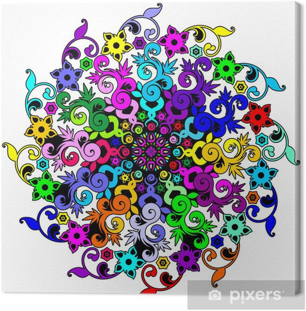 Tableau sur toile Floral Mandala Mandala Floral Psychedelic-Vector- - Sticker mural