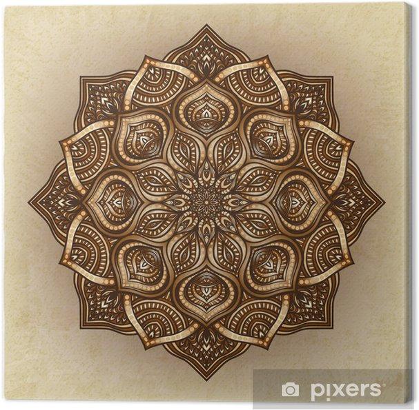 Tableau sur toile Floral ornement rond brun - Arrière plans