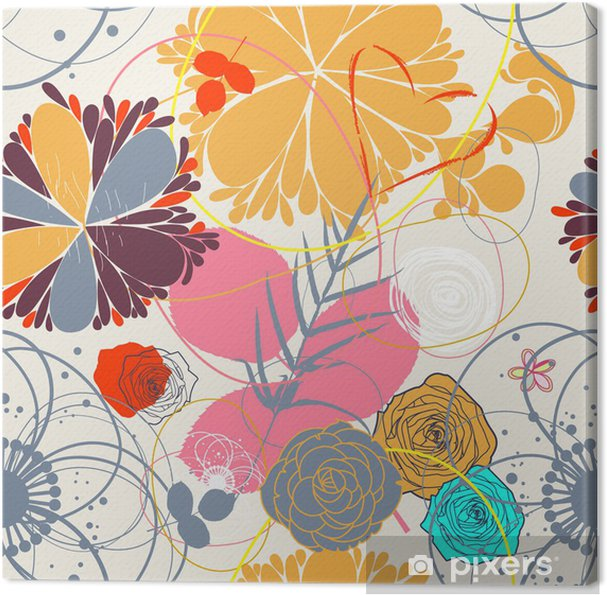 Tableau sur toile Floral seamless pattern in retro style - Bonheur