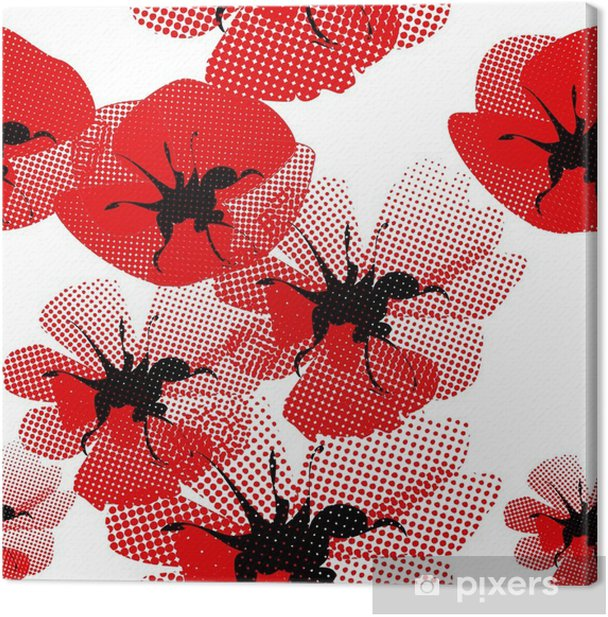 Tableau sur toile Floral seamless pattern with poppy - Thèmes