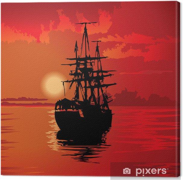 Tableau sur toile Flying Dutchman sur un fond rouge. Vecteur art-illustration. - Eau
