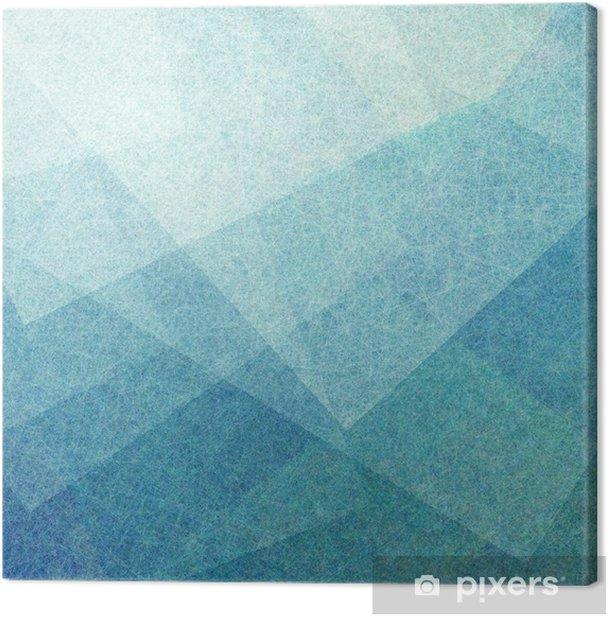 Tableau sur toile Fond bleu abstrait avec des carrés de parchemin blancs transparents avec la texture de style de lin ou des coups de pinceau en couches au hasard avec des formes et des angles géométriques - Ressources graphiques