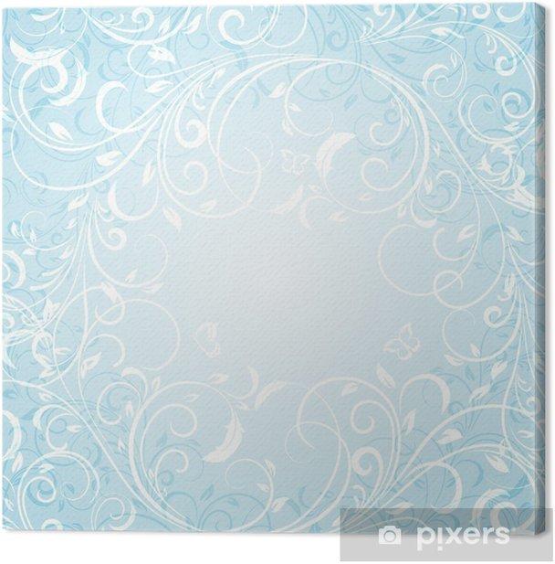Tableau sur toile Fond Bleu Floral - Arrière plans