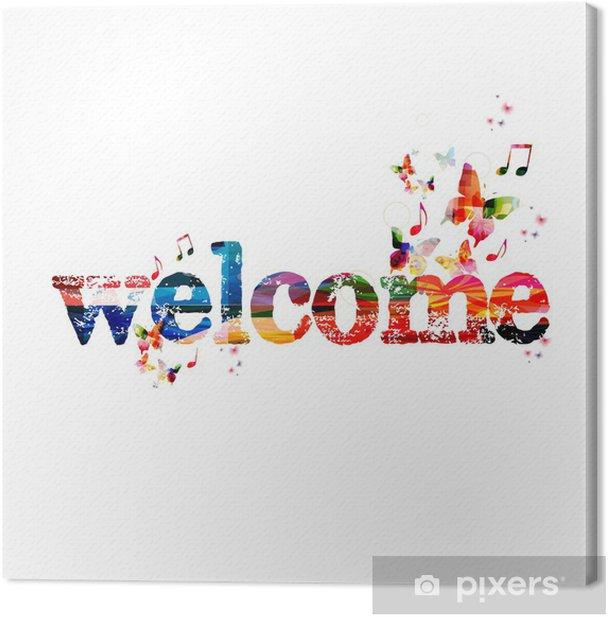 Tableau sur toile Fond coloré vecteur de bienvenue avec des papillons - Signes et symboles