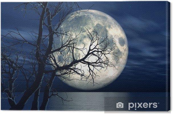 Tableau sur toile Fond de paysage 3D avec la lune et l'arbre - iStaging