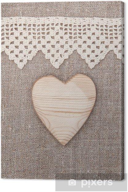 Tableau sur toile Fond de toile avec le tissu de dentelle et coeur en bois - Fêtes internationales