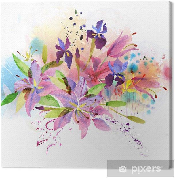 Tableau sur toile Fond floral avec des fleurs à l'aquarelle - Arrière plans