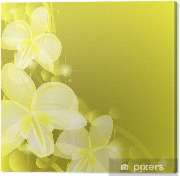 Tableau sur toile Fond jaune avec orchidées - Arrière plans