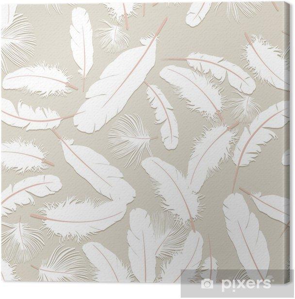 Tableau sur toile Fond transparent de plumes blanches, graphiques, d'impression - Textures
