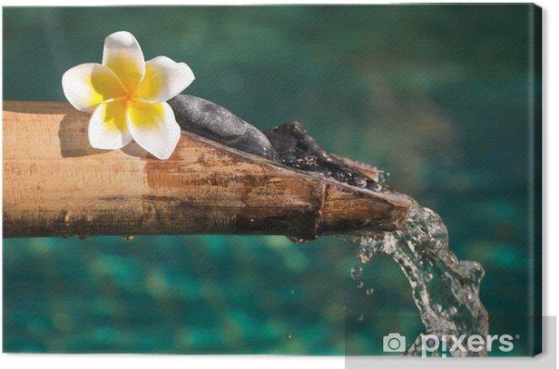 Tableau sur toile Fontaine bambou et fleur de frangipanier - Beauté et soins du corps