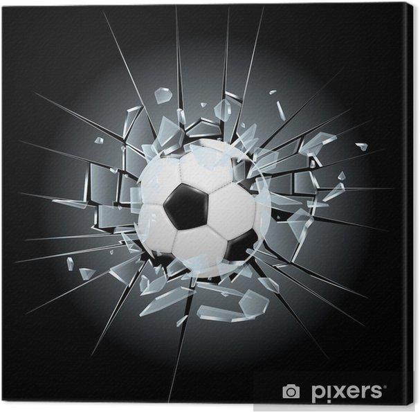 Tableau sur toile Football de football verre brisé -