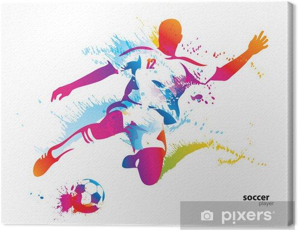 Tableau sur toile Football joueur botte le ballon. L'illustration vectorielle colorée - Destin