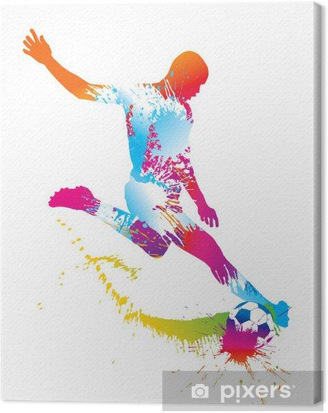 Tableau sur toile Football joueur botte le ballon. Vector illustration. - Sports collectifs