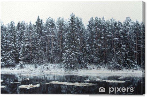 Tableau foret et neige 3 tableaux sur toile foret d 39 hiver froid paysage neige