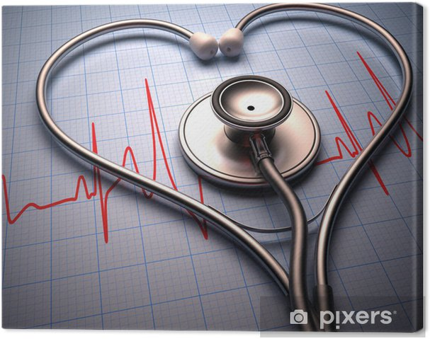 Tableau sur toile Forme de coeur de stéthoscope. Chemin de détourage inclus. - Santé et médecine