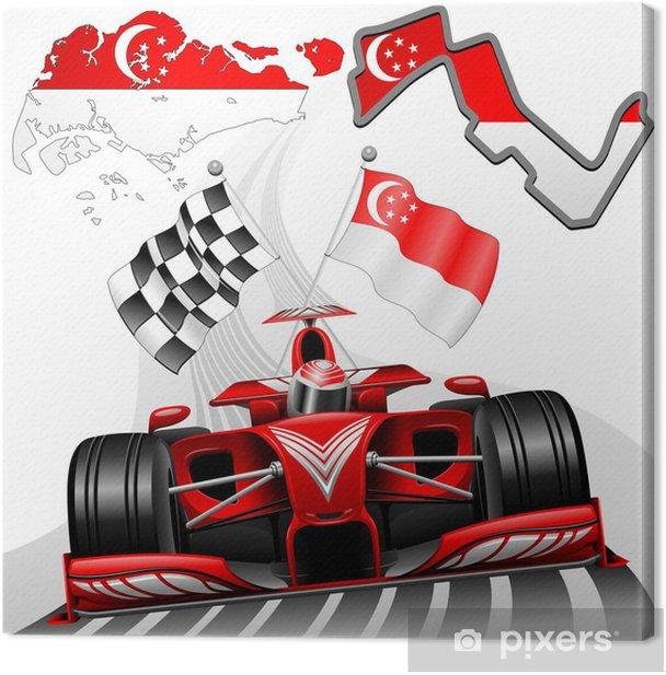 Tableau sur toile Formule 1 voiture de course GP de Singapour - Thèmes