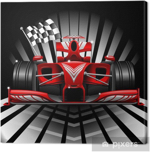 Tableau sur toile Formule 1 Voiture de course rouge et drapeau à damier - Thèmes