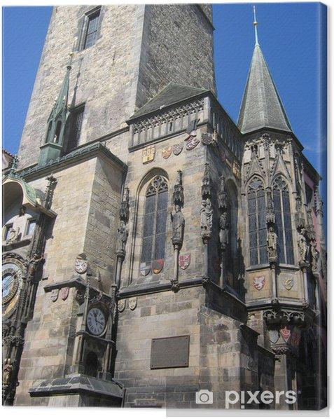 Tableau sur toile Fragment d'une tour à la place de la vieille ville. - Europe
