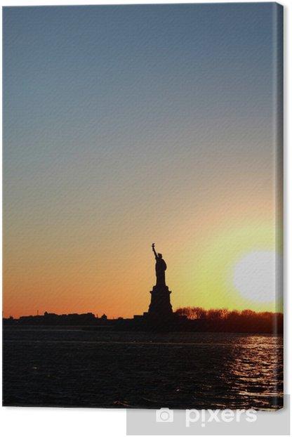 Tableau sur toile Freiheitsstatue bei Sonnenuntergang - Villes américaines