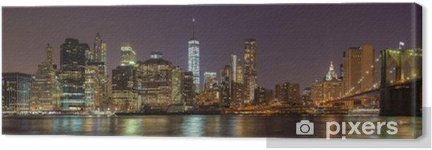 Tableau sur toile Front de mer de manhattan dans la nuit, new york city, usa - Paysages