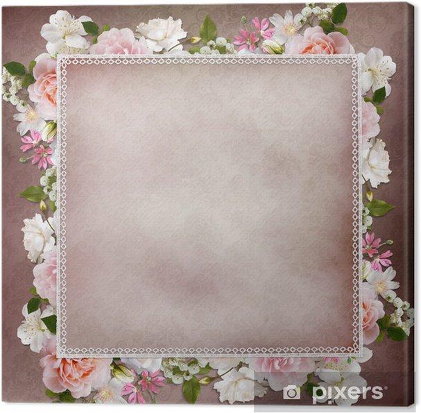 Tableau sur toile Frontière de roses, dentelle sur fond vintage - Bonheur