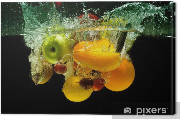 Tableau sur toile Fruits et légumes splash dans l'eau - Destin