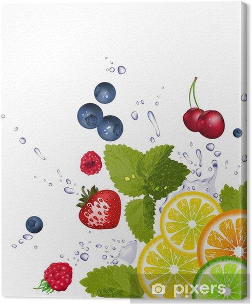 Tableau sur toile Fruits et les éclaboussures d'eau - Agriculture