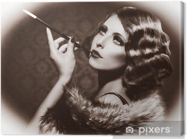 tableau sur toile fumer r u00e9tro femme  vintage styled photo noir et blanc  u2022 pixers u00ae