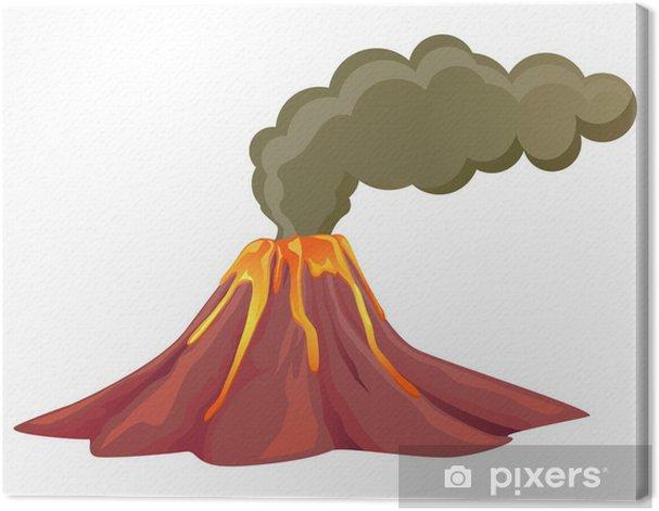 Tableau sur toile Fumeurs volcan avec lave qui coule vers le bas - Catastrophes naturelles