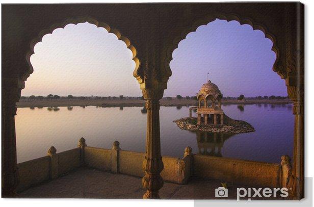 Tableau sur toile Gadi Sagar Lake à Jaipur, Rajasthan, Inde - Monuments